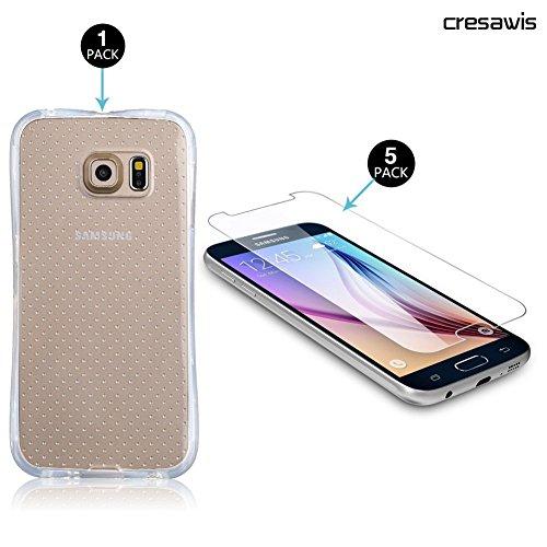 Samsung Galaxy S6 Screen Protector, cresawis (5 Pack) 0.26mm 9H Tempered Glass Screen Protector for Samsung Galaxy S6 and G9200,Free Samsung Galaxy S6 Case Included