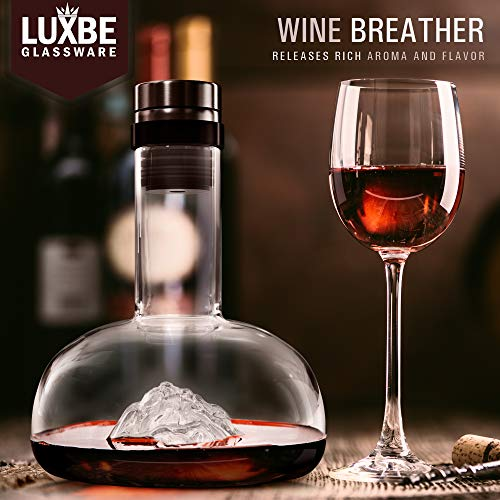 Luxbe - Wine Decanter Aerator 54-Ounces - Crystal Glass - Lead Free - Premium Carafe with Accessories for Red Wine Decanting