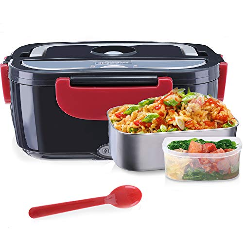 """Janolia Electric Food Heater, Portable Electric Lunch Box Only for Car, 7.87x5.11"""" with Stainless Steel Bowl, Food Grade PP Plate, Spoon and Cable for Car"""