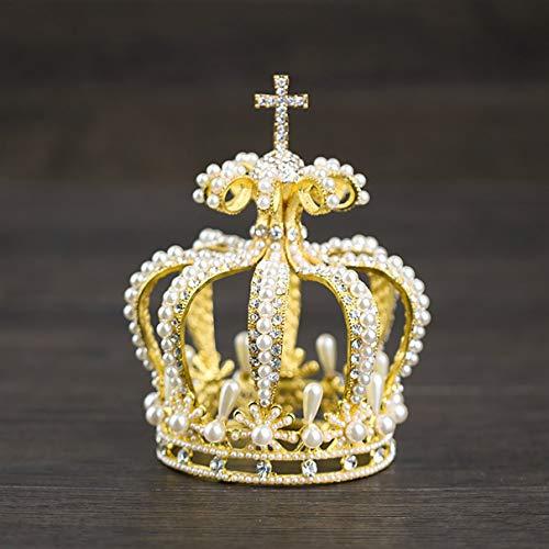 fghfhfgjdfj Perle Krone Braut Tiara Perle Krone Kreuz Krone Edle Elegante Braut Tiara Krone...