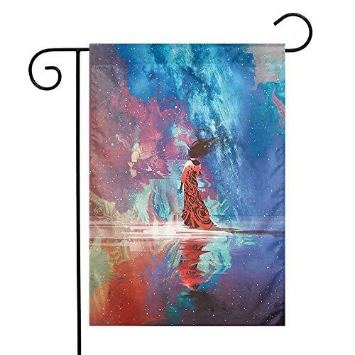 Eastlif Simple Face Maison Décoratif Drapeau De Drapeau Fantastique Art Maison Décor Femme en Robe sur l'eau sous La Galaxie Terre avec Étoile Spirituel Facile à Soin Coral Bleu