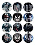 "Venom Stickers, Large 2.5"" Round Circle Stickers to Place onto Party Favor Bags, Cards, Boxes or Containers -12 pcs Marvel Comics Anti-Hero Eddie Brock"
