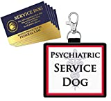 WORKINGSERVICEDOG.COM Psychiatric Service Dog - Clip On Identification Patch Tag - Includes Five Service Dog Handout Cards - Clips onto a Service Dog Vest, Harness, Collar, Leash or Carrier