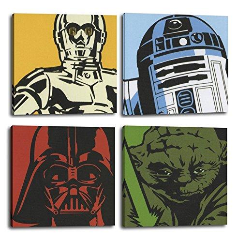RuidoRosa ORIGINALOOPS Juego de 4 Cuadros Star Wars C3PO, R2D2, Vader, Yoda (25x25)