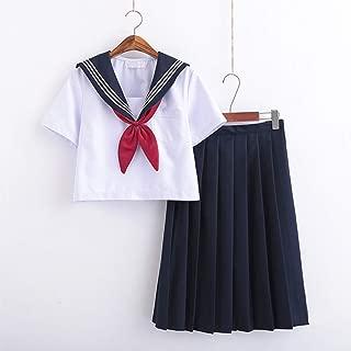 Women Sailor Nautical Dress Classic Basic JK Uniform Anime Cosplay Costumes Halloween Japanese School Uniform Top + Skirt Set