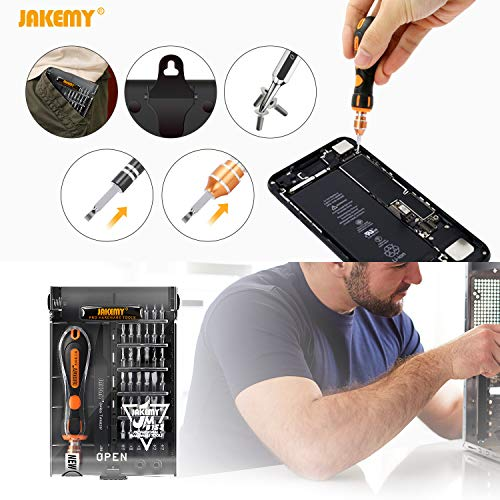 Jakemy 39 in 1 Screwdriver Set Precision Repair Tool Kit with 36 Magnetic Driver Bits Screwdriver Kit for iphone 11/X/8/7 Plus Cell Phone Macbook Laptop PC Black