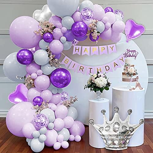 Decoraciones cumpleaños morado, kit guirnalda arco globos morados pastel pancarta HAPPY BIRTHDAY globos morados grises macaron globos morados metálicos globos confeti morados globos corazón