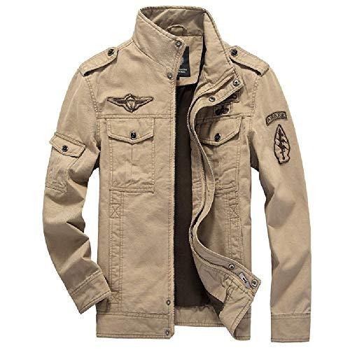 SKJJKT Chaqueta Acolchada de algodón para Hombre, diseño Europeo y Americano, para Hombre, sin Planchado, de algodón Verde Caqui XXXXXL