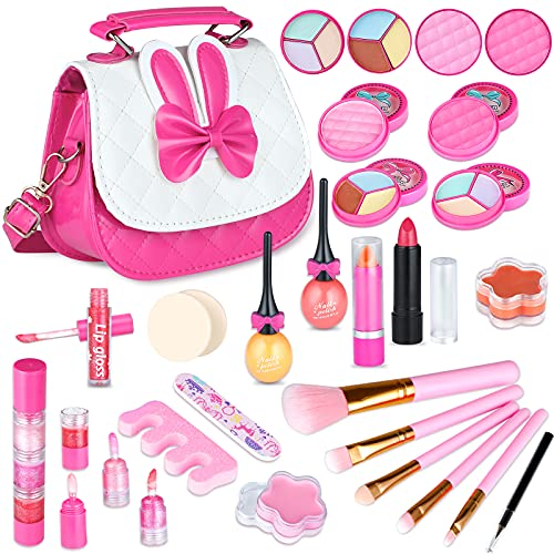 INNOCHEER Kids Makeup Kit for Little Girls 3-8, Washable Makeup Set for Kids, Play Makeup Toy with Pink Crossbody Bag for Toddlers Christmas Halloween Birthday Gifts