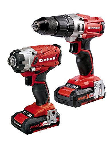 Einhell 4257214 2.0 Ah Power X-Change Cordless Combi Drill and Impact Driver - Twin Pack , Red