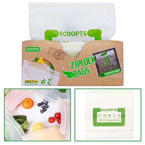 ECOOPTS 100% kompostierbare Lebensmittel-Aufbewahrungsbeutel, wiederverwendbar, mit Druckverschluss, für Zuhause, Schule oder Arbeit, 50 Stück
