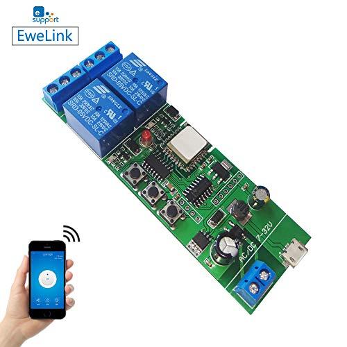 EACHEN WiFi Inlay inalámbrico Relé Momentáneo/Autoblocante Interruptor Inteligente DIY Hogar inteligente Gadget DC 5-32V Entrada Aplicación Ewelink Compatible con Alexa Google Nest IFTTT (ST-DC2)