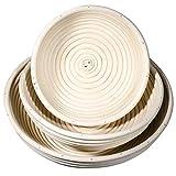 SIDCO Juego de 3 cestas de fermentación redondas para masa de pan