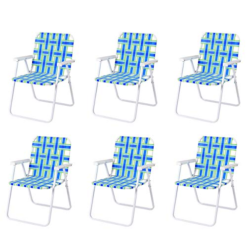 COSYWAY 6er Klappstühle Strandstuhl Gartenstuhl Campingstuhl Klappsessel, Terrassenstühle Outdoor, Faltstuhl Lehnstuhl bis 120kg (Blau)