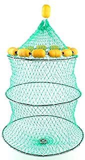 XINYI Collapsible Fish Net 3-Layer Buoyancy Net - Round Fish-Cage Fishing Holding Storage Catching Net with Drawstring