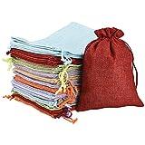 IRICH 30 Stück Baumwolle Säckchen mit Kordelzug, Bunte Natur Organza Beutel, Jutesäckchen für Hochzeit Party Mitbringsel und DIY Handwerk (13 * 18CM)