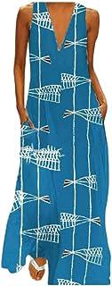 FSSE Women V-Neck Sleeveless Sundresses Floral Printing Beach Evening Party Maxi Dress