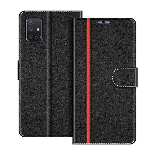 COODIO Handyhülle für Samsung Galaxy A51 Handy Hülle, Samsung Galaxy A51 Hülle Leder Handytasche für Samsung Galaxy A51 Klapphülle Tasche, Schwarz/Rot