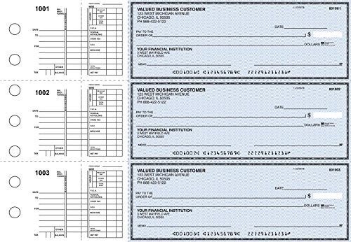 Business Checks, 3 to a Page Blue Safety Multipurpose Checks, 300 Single Checks