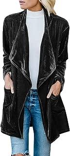 Womens Long Sleeve Velvet Lapel Loose Fit Winter Coat Cardigan Jacket