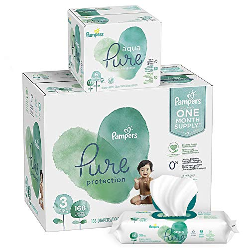 Diapers Size 3, 168 Count and Baby Wipes - Pampers Pure Protection Diapers and Aqua Pure 6X Pop-Top Sensitive Water Baby Wipes, 336 Count