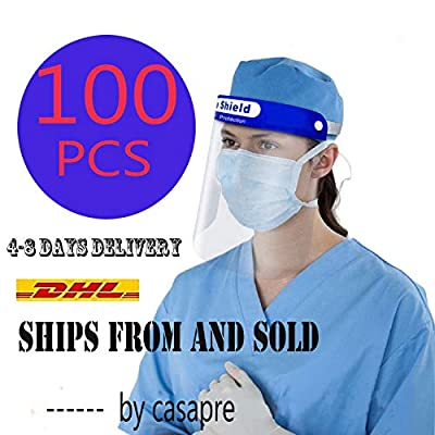 100/Pack Disposable Safety Face Shield Fluid Resistant Full Face Visor Protection FDA Approved Face Shield