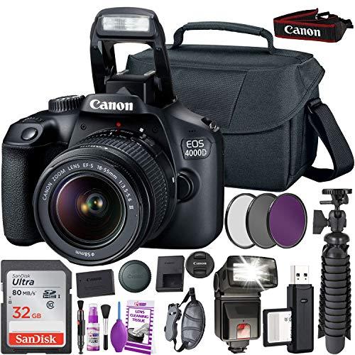 Canon EOS 4000D DSLR Camera and EF-S 18-55 mm f/3.5-5.6 is III Lens (International Version) (No Warranty) + 32GB Memory Card + Camera Bag + MiniTripod