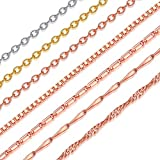 Suplight Rose Gold Plated 2mm Water Wave Chain Adjustable Chain 22inches Necklace Chain for Men/Women