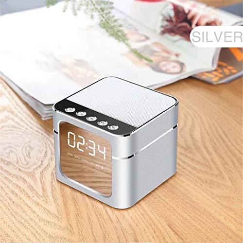 FENGCLOCK LED-Wecker mit drahtlosem Bluetooth-Lautsprecher, tragbarer Metall-Mini-Quadrat-Spiegel TF-Karte AUX-Mikrofon-Uhr für Smartphone-Gebühr,Silver