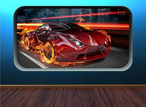 Fire Voiture FC1 rapide Racing Voiture de sport pour enfants Window Flames Speed énorme Décoration murale Autocollant, Medium 40cm x 73cm