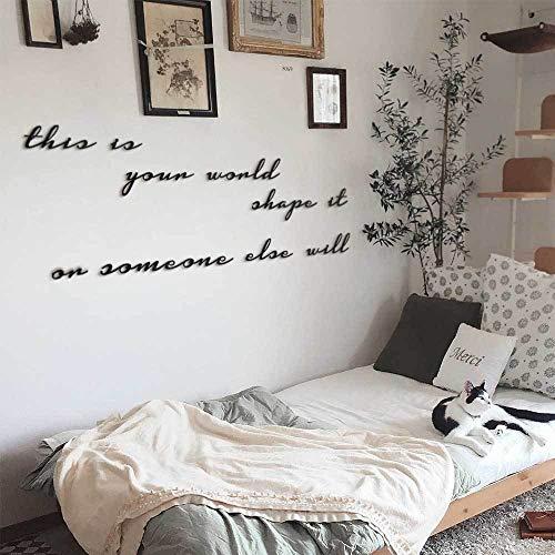Frase de metal para pared | This Is Your World – Shape It Or Someone Else Will| arte de pared por Hoagard | 10 piezas | Decoración de metal para colgar en la pared para tu casa y oficina