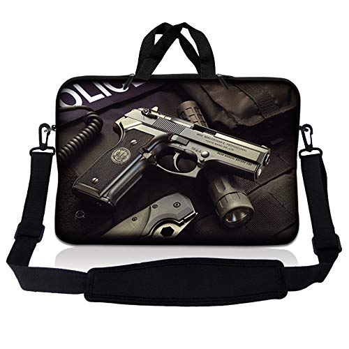 Laptop Skin Shop 17-17.3 inch Neoprene Laptop Sleeve Bag Carrying Case with Handle and Adjustable Shoulder Strap - Police Gun Weapons
