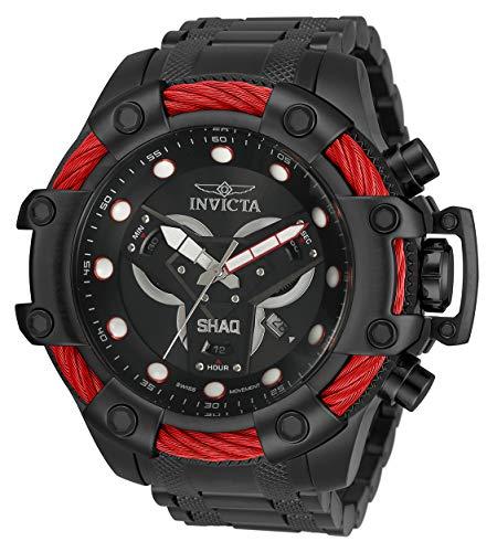 Invicta Shaq 33655 - Reloj de cuarzo suizo con correa de acero inoxidable, color negro, 26 (modelo: 33655)