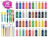 Kids Tempera Paint Set   Value Pack Includes 40 Washable Non-Toxic Colorful Paints (2oz bottles) & 15 Brushes  ...