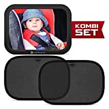 Systemoto Rücksitzspiegel Baby + Sonnenschutz Auto mit UV Schutz (2er Set) - Baby Auto Spiegel und Selbsthaftende Sonnenblenden für Kinder auf Rücksitz (Schwarz)