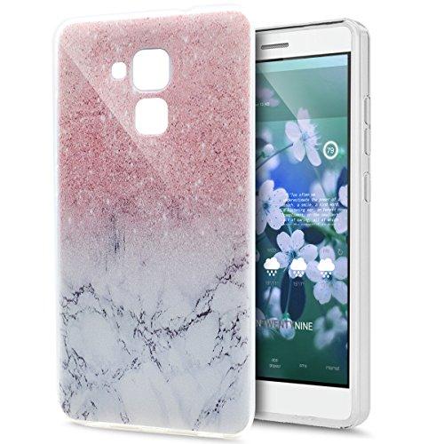 Kompatibel mit Huawei Honor 5C Hülle Schutzhülle,Gemalt Kunst Malerei Handyhülle Silikon TPU Silikon Hülle Handyhülle Tasche Durchsichtig Schutzhülle für Huawei Honor 5C,Rosa Marmor Marble