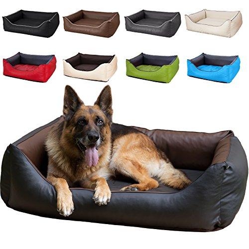 CopcoPet - Hundebetten Rocco S 70 x 55cm, Braun-Schwarz, 2in1 wasserabweisendes Hundebett, Hundeschlafplatz komplett aus Kunstleder, Hundematratze aus Schaumstoff-Flocken