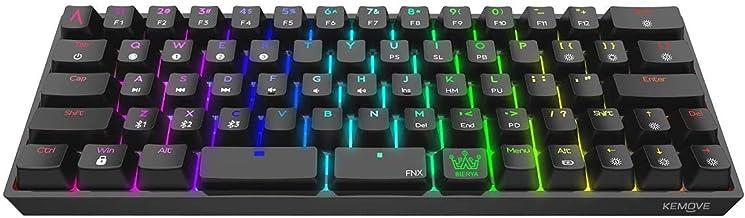 DIERYA Bluetooth 5.1 Mechanical 60% Gaming Keyboard, Wired/Wireless Dual Spacebar Hot-Swappable Waterproof Type-C 66 Keys Computer Keyboard with Full Keys Programmable (Gateron Optical Brown Switch)