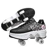 Pinkskattings@ Zapatillas con Ruedas Zapatos De Patinaje sobre Ruedas Zapatos De Polea Patinaje Técnico Retráctil Deporte para Niños Niñas