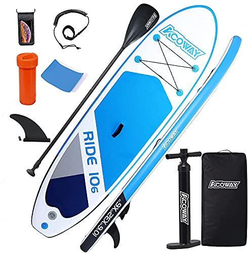 ACOWAY Aufblasbares SUP Board blau, 320 x 81.5 x 15 cm