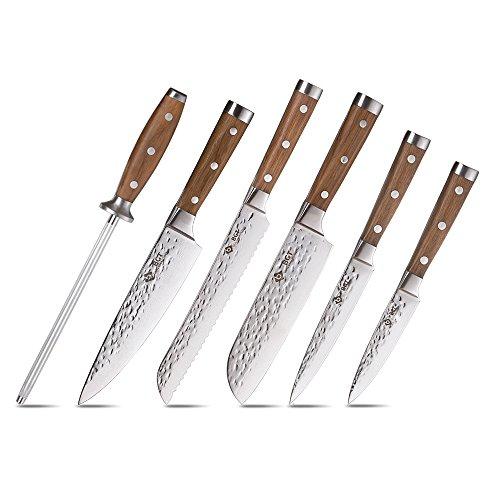 BGT 6er Damastmesser Küchenmesser Set, Japanische Kochmesser Profi Messer, 67 Schichten VG-10 Küchenmesser Scharf Teakholzgriff mit Messer Rollentasche