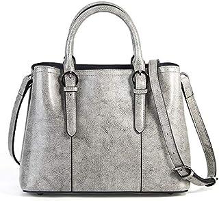 Leather Ladies Messenger Bag Shoulder Leather Oil Wax Bag Ladies Luxury Handbags (Color : Grey)