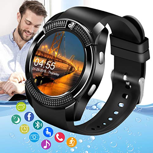 Amokeoo Smart Watch,Android Smartwatch Touch Screen Bluetooth Smart Watch for Android Phones Wrist Phone Watch with SIM Card Slot & Camera,Waterproof Text & Call Cell Phone Watch for Men Women Newest