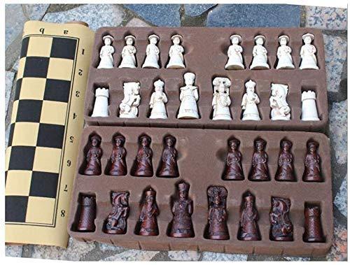 Juego de ajedrez Juego Viajes Adultos niños Tablero Ajedrez Resina Juego de ajedrez Internacional Juego de Piezas Plegables Tablero e Divertido e Colección de Piezas de ajedrez Tablero portátil Juego