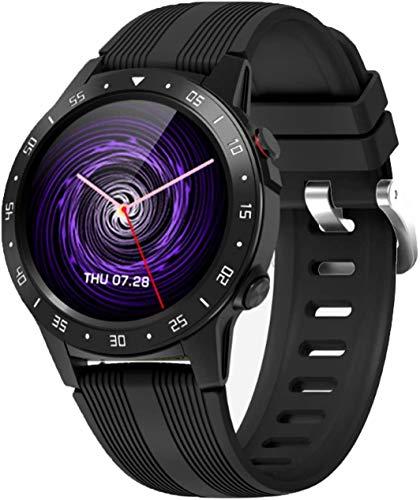 OH Reloj Inteligente, Pantalla Táctil Redonda de Alta Definición de 1.54 Pulgadas, Modo Deportivo Multifunción Pulsera de Podómetro Precisa clásico/Negro