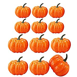 MerryNine Artificial Pumpkins for Decoration, Total 12pcs 2 Kinds of Size Mini-Fake-Pumpkins, Artificial Vegetables for Halloween Thanksgiving Autumn Ornaments(Orange)