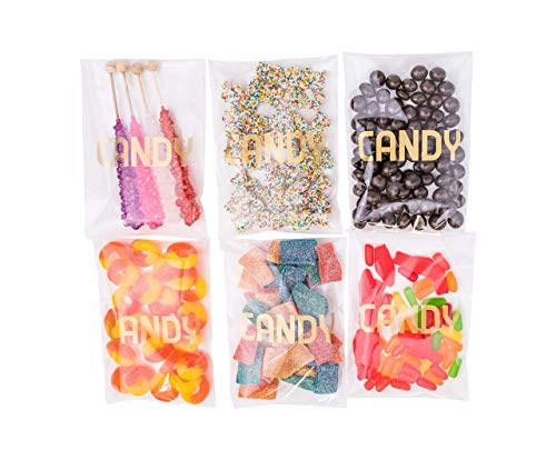 Sweet Details Party Co. Cellophane  Candy  Bags {100 Pack} Gold & Clear Goodie Bags for Candy Bar & Buffet Gifts- Wedding Birthday Party Favor Bags- Self-Sealing & Resealable Adhesive - NO Ties!