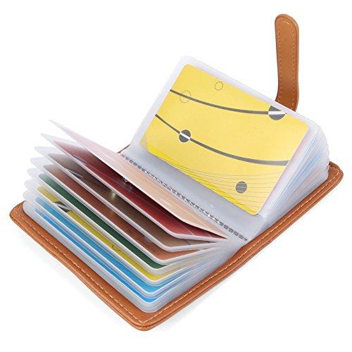 10 Farben Kreditkartenetui Damen Herren Kartenetui Leder - 26 Karten (Braun#2)