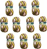 Hilo de Lana para Tejer Crochet Ganchillo o Punto Torrijo BAHIA 80g, Ovillo de Lana Suave Acrílica para Tejer   10 Unidades, Multicolor 2418