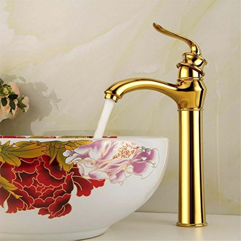 Bijjaladeva Wasserhahn Bad Wasserfall Mischbatterie WaschbeckenDie Kupfer Legierung Gold Plus Hohe Einzelne Bohrung Einzigen Griff Kaltes Wasser Keramik Ventil Waschtischmischer